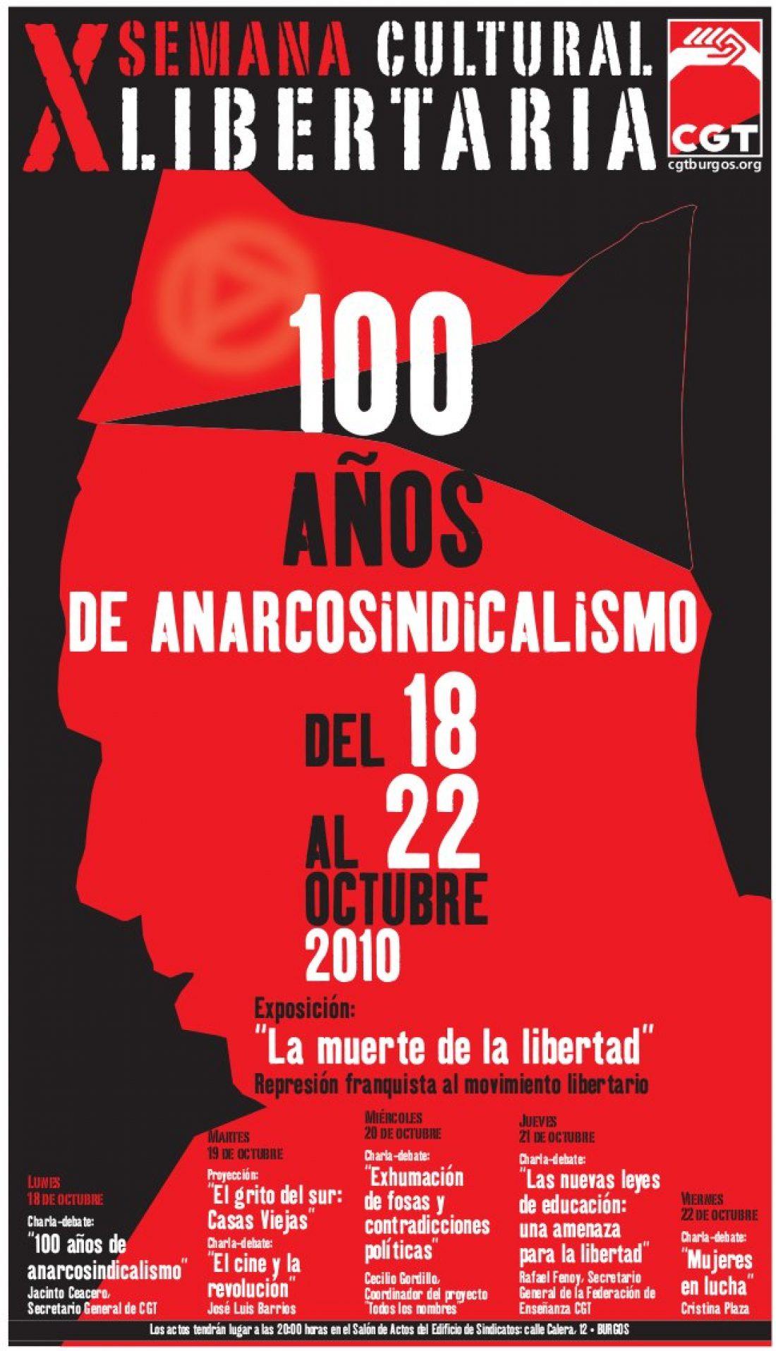 Burgos, del 18 al 22 de octubre: X Semana Cultural Libertaria «100 AÑOS DE ANARCOSINDICALISMO»