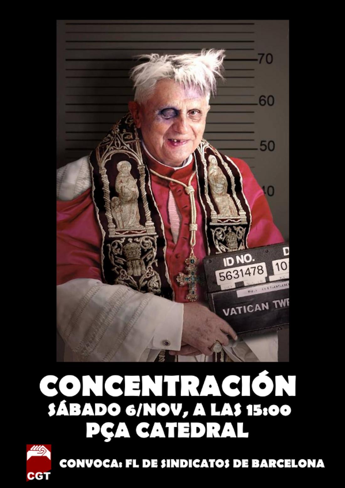 6 de Noviembre: CGT Barcelona convoca concentración contra la visita papal