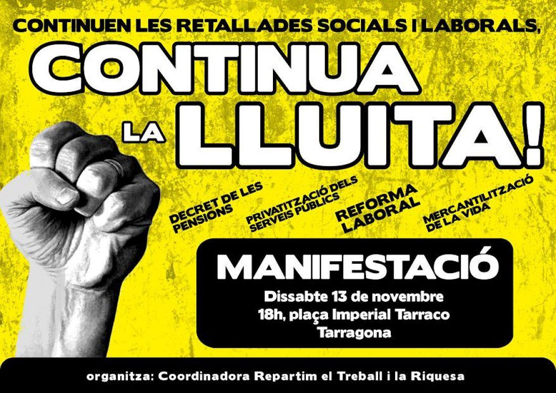 Tarragona, 13 de noviembre: Manifestación contra la reforma laboral y la de pensiones