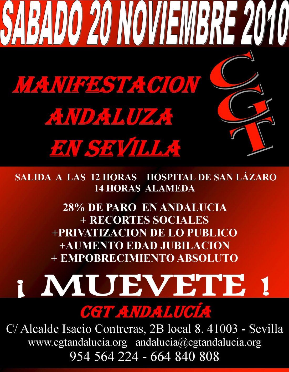 Sevilla, 20 de noviembre: Manifestación contra la reforma laboral y los recortes sociales