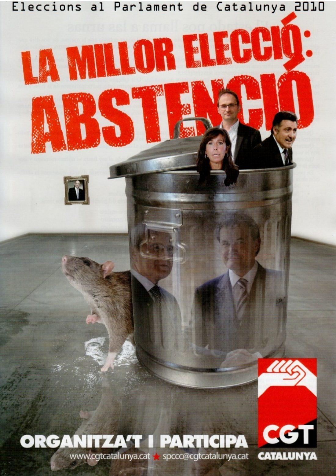 Campaña de CGT Catalunya: «28N: La mejor elección? La abstención activa!
