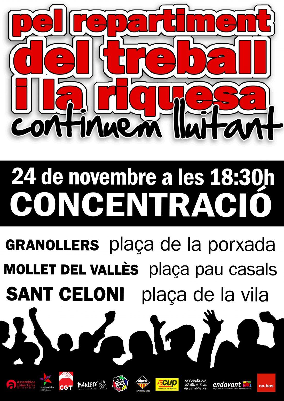 24 de noviembre, Vallès Oriental: Concentraciones por el reparto del trabajo y la riqueza.