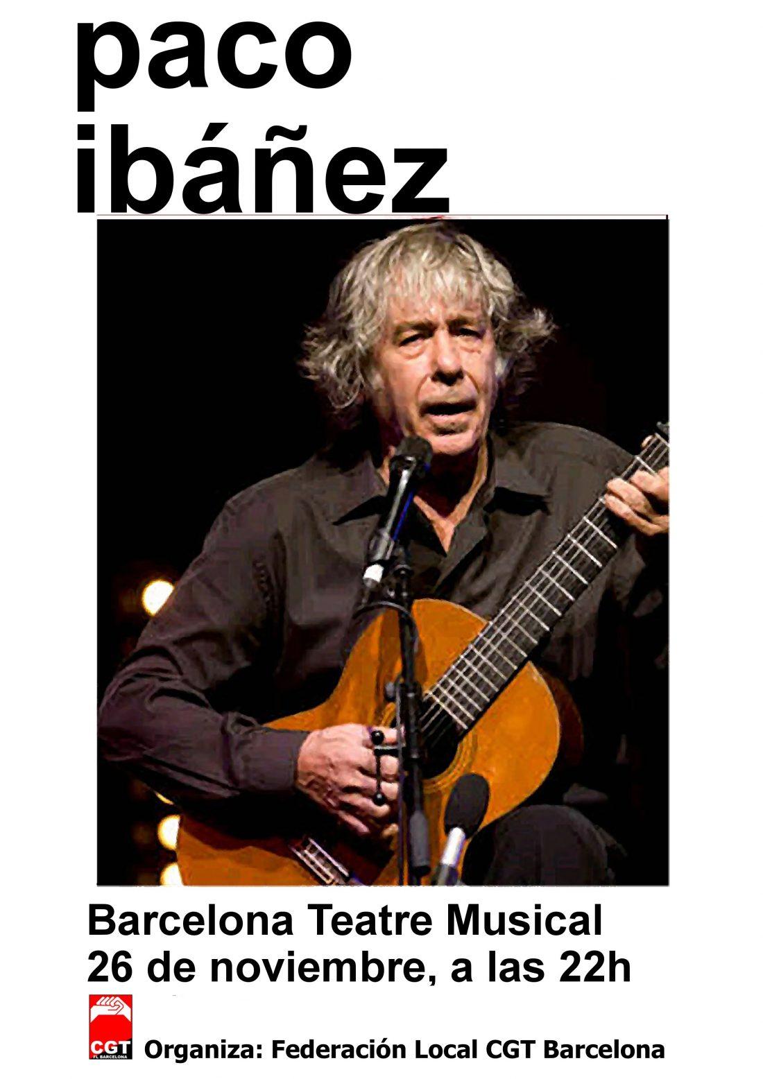 Barcelona, 26 de noviembre: Concierto de Paco Ibáñez