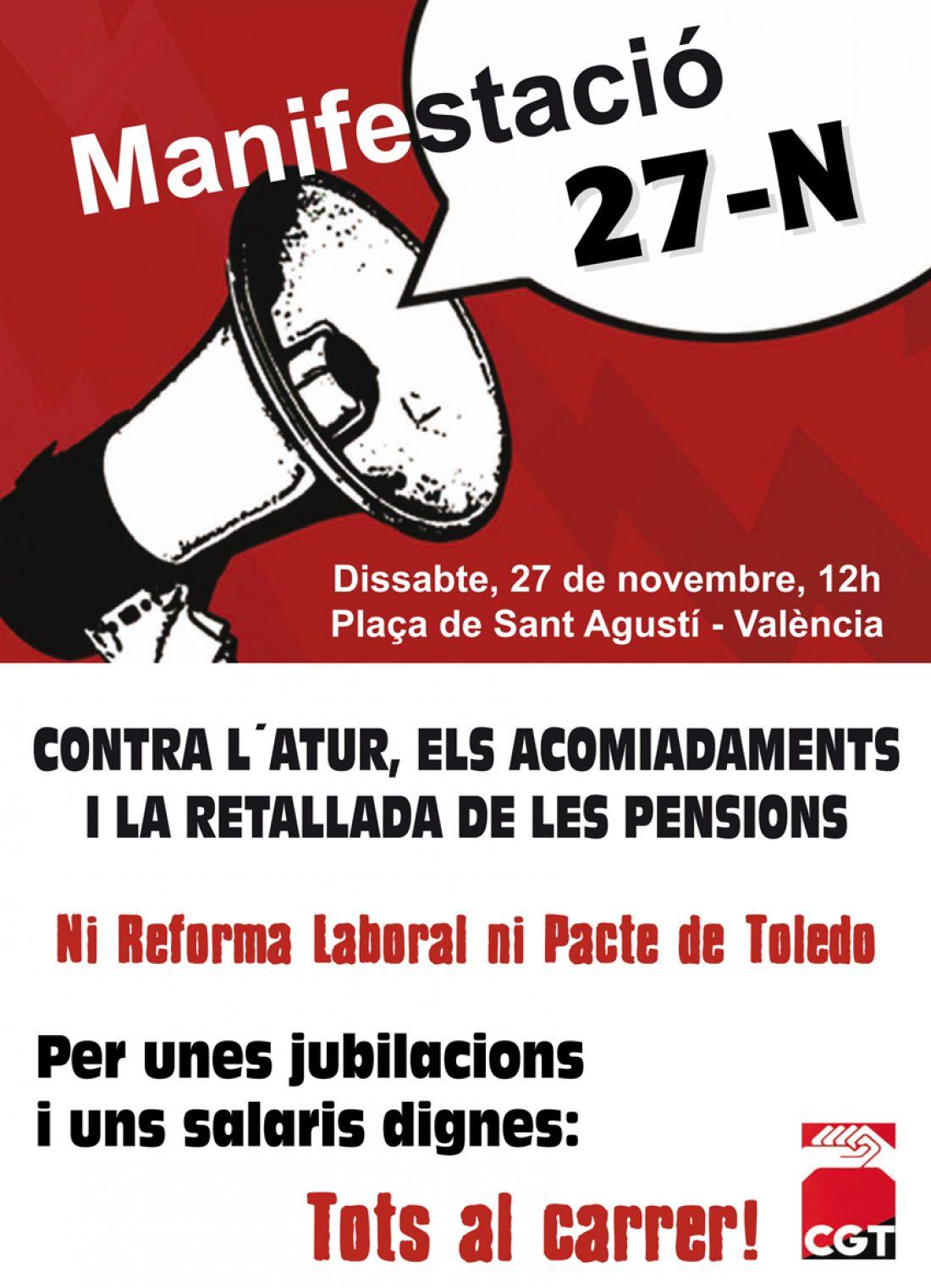 Valencia, 27 de noviembre: Manifestación contra el paro, los despidos y los recortes en las pensiones