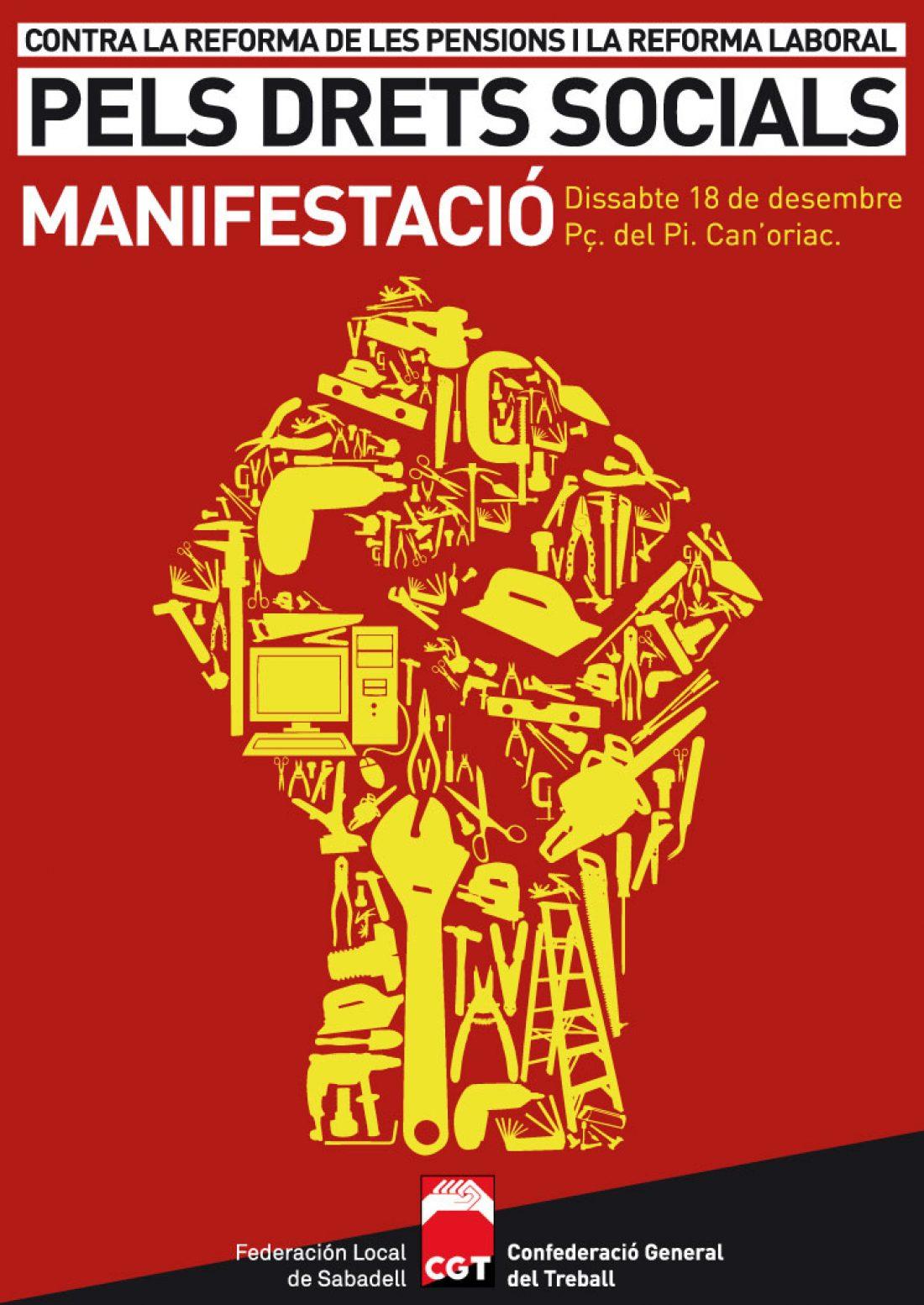 Sabadell, 14 y 18 de diciembre: Jornada y Manifestación contra las reformas laboral y de pensiones