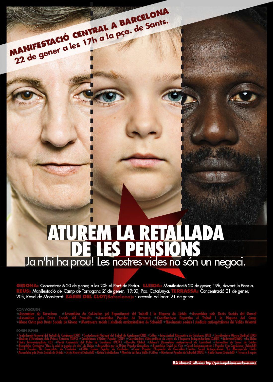 Catalunya, 20, 21 y 22 de Enero: Paremos el recorte de la pensiones!