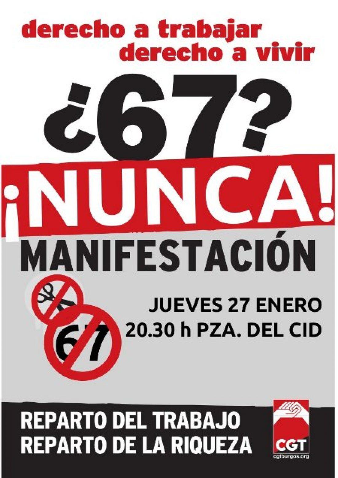 Burgos, 27 de Enero: Manifestación contra la jubilación a los 67 años