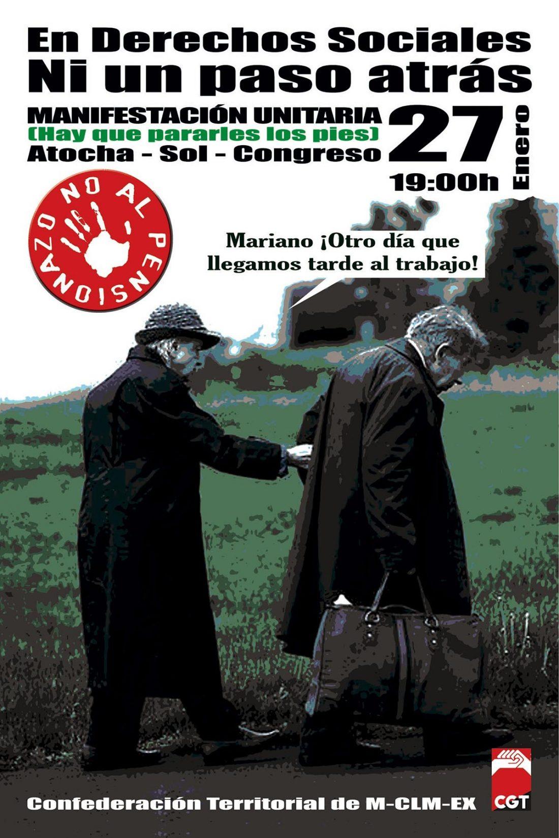 Madrid, 27 de Enero: Manifestación unitaria contra el pensionazo.