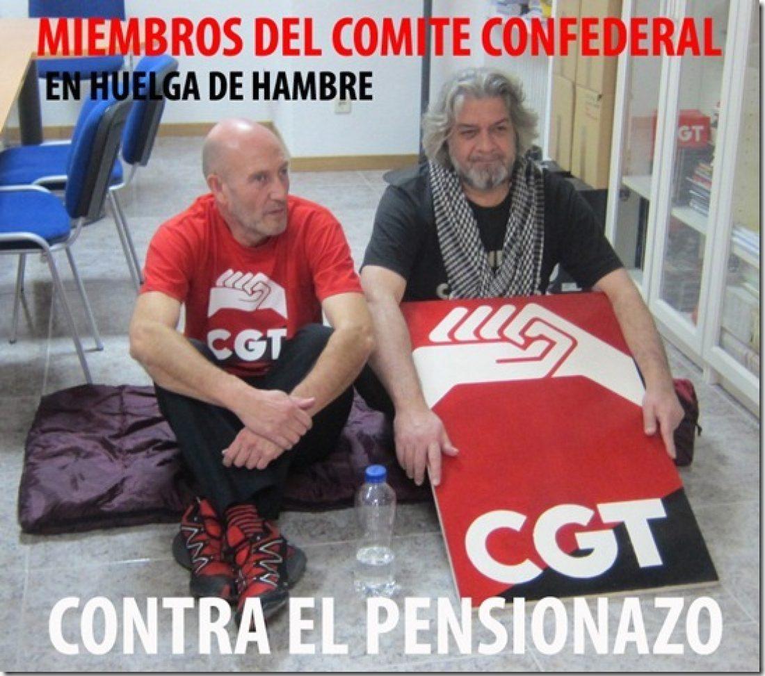 Dos miembros del Comité Confederal de la CGT cumplen su quinto día en huelga de hambre contra la reforma de las pensiones