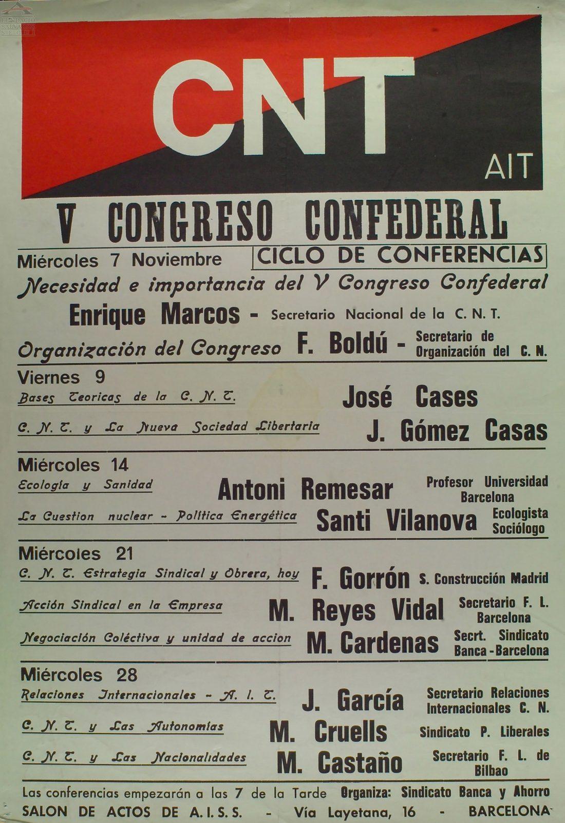 Cartel Ciclo Conferencias V Congreso CNT (Barcelona 1979)