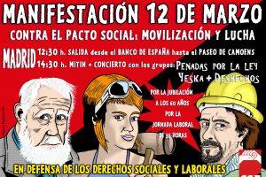 Madrid, 12 de Marzo: Manifestación Confederal «Contra el pacto social, movilización y lucha»