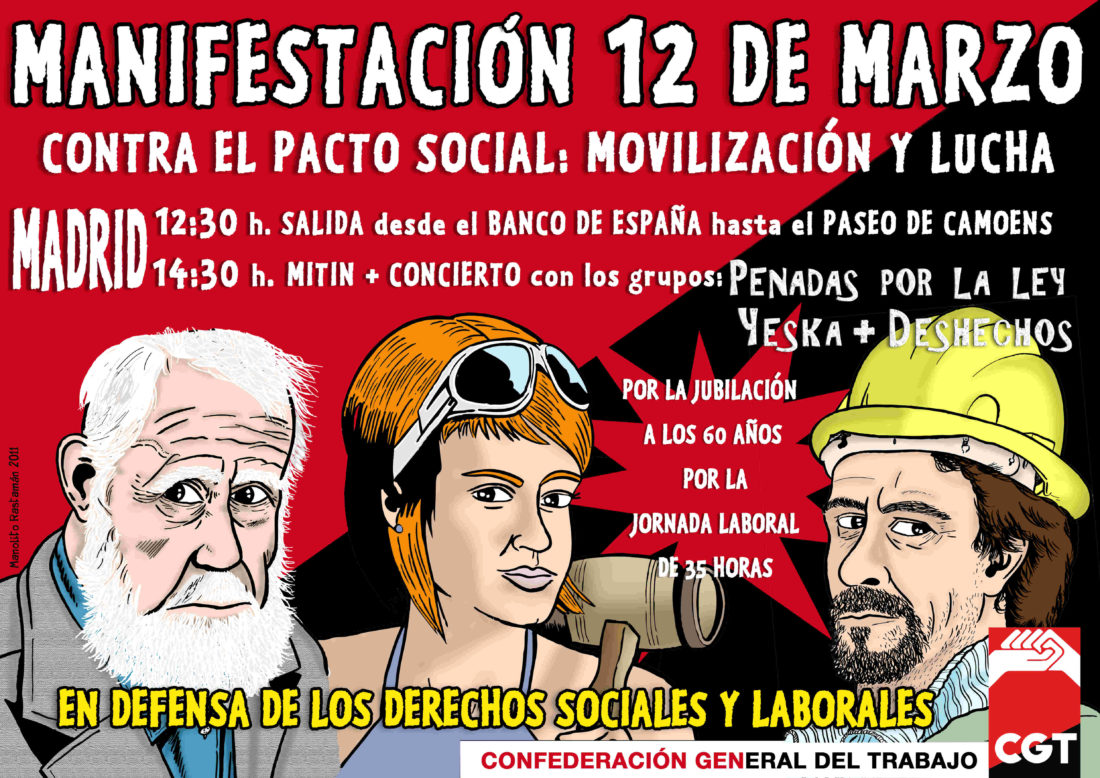 Organizaciones sindicales, sociales, políticas e internacionales que apoyan la Manifestación contra el pacto social del 12 de marzo