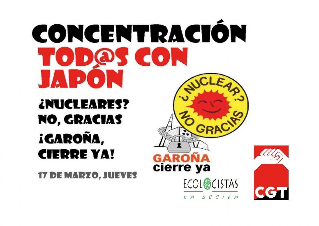 Jueves, 17 de Marzo: CONCENTRACIONES en más de 20 ciudades en solidaridad con el pueblo japonés y por el abandono de la energía nuclear.
