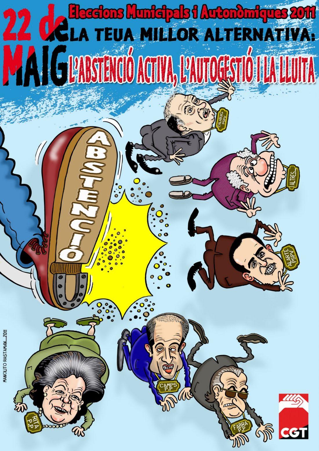 CGT País Valencià y Murcia inicia una campaña contra la corrupción política y por la Abstención Activa