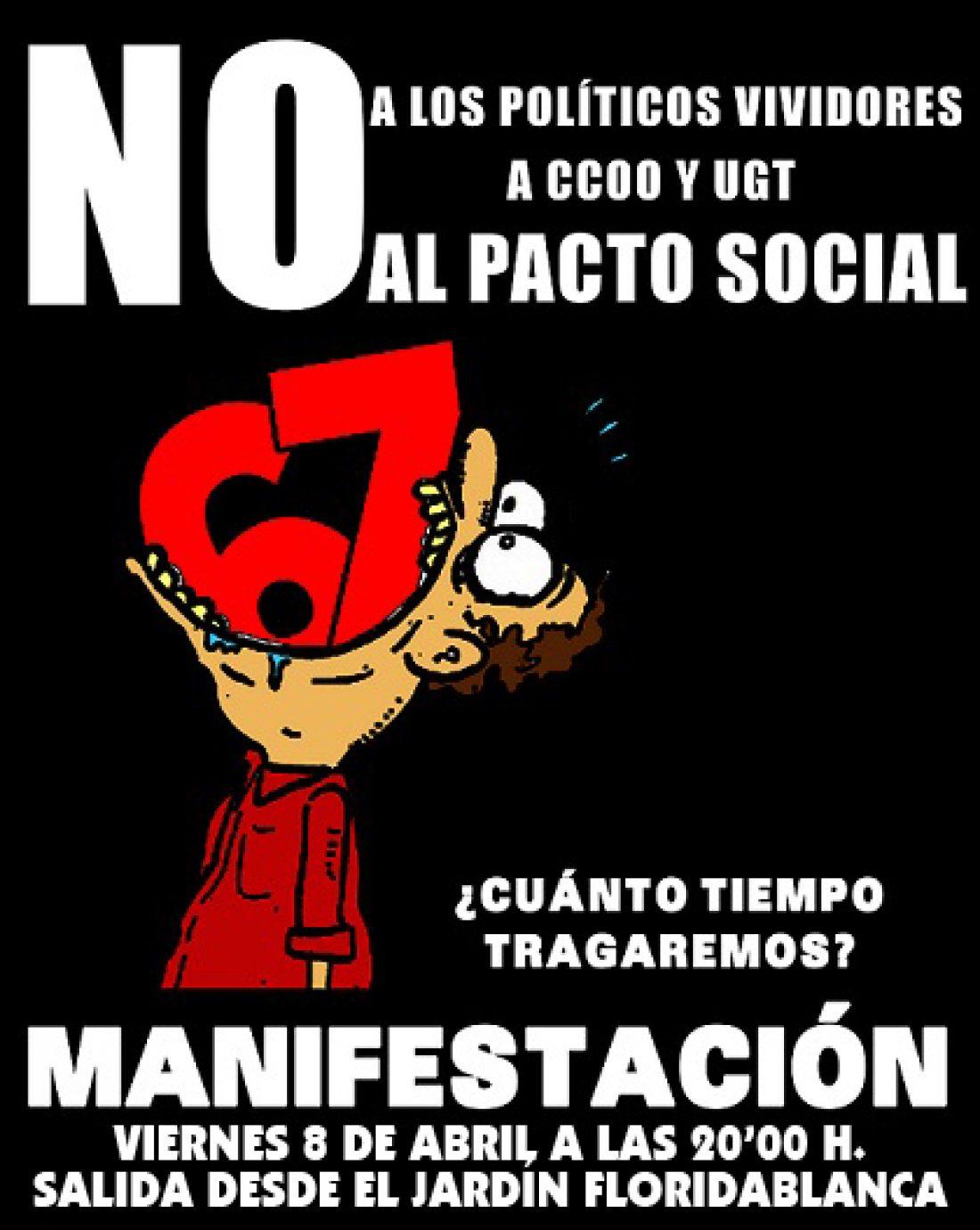 Murcia, 8 de Abril: CGT convoca una Manifestación contra el pacto social y la reforma de las pensiones