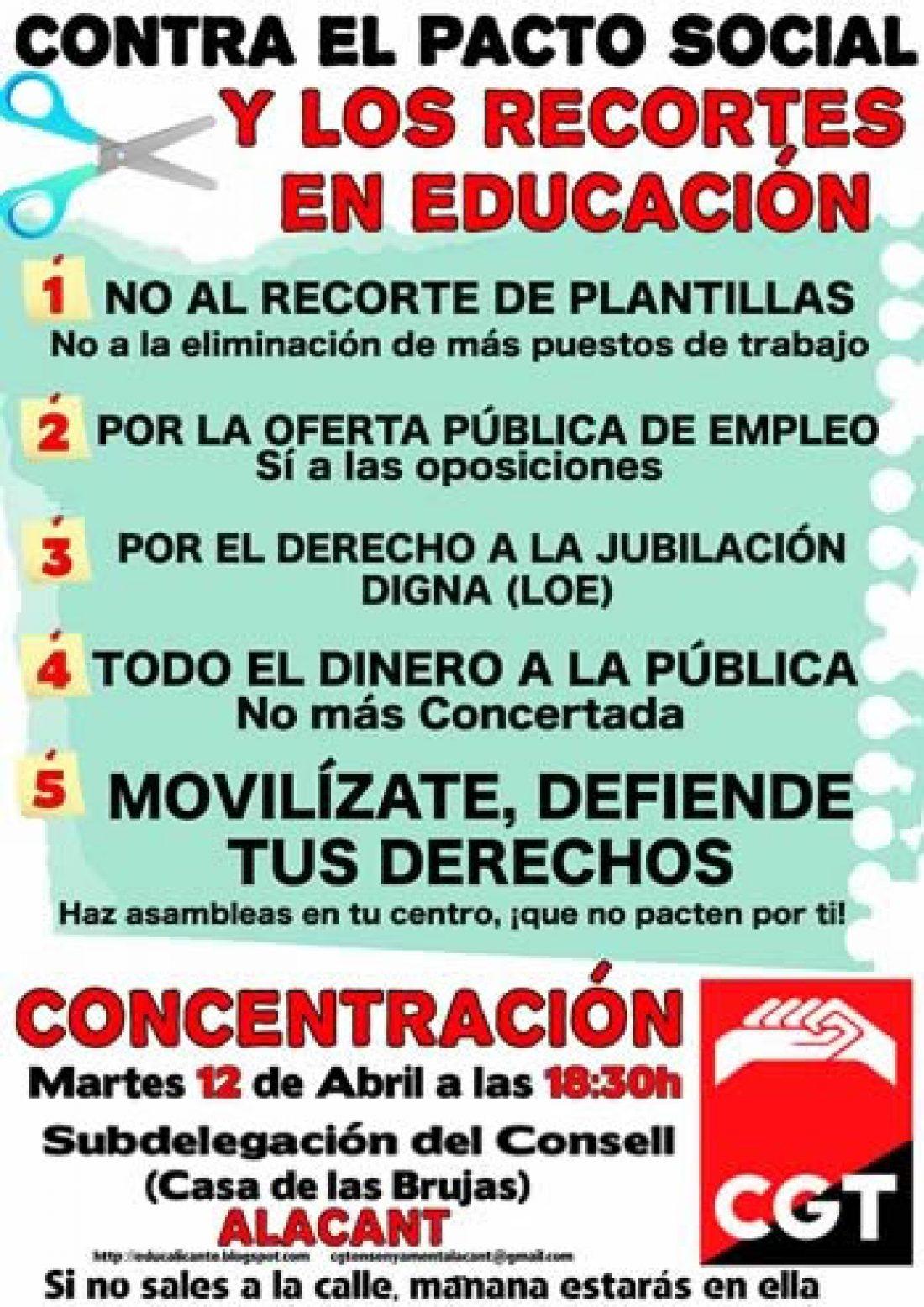 Alacant, 12 de Abril: CGT convoca concentración contra el pacto social y los recortes en educación