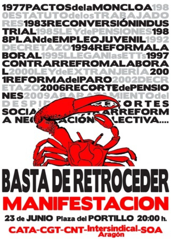 Zaragoza, 23 de junio: Manifestación contra la negociación colectiva