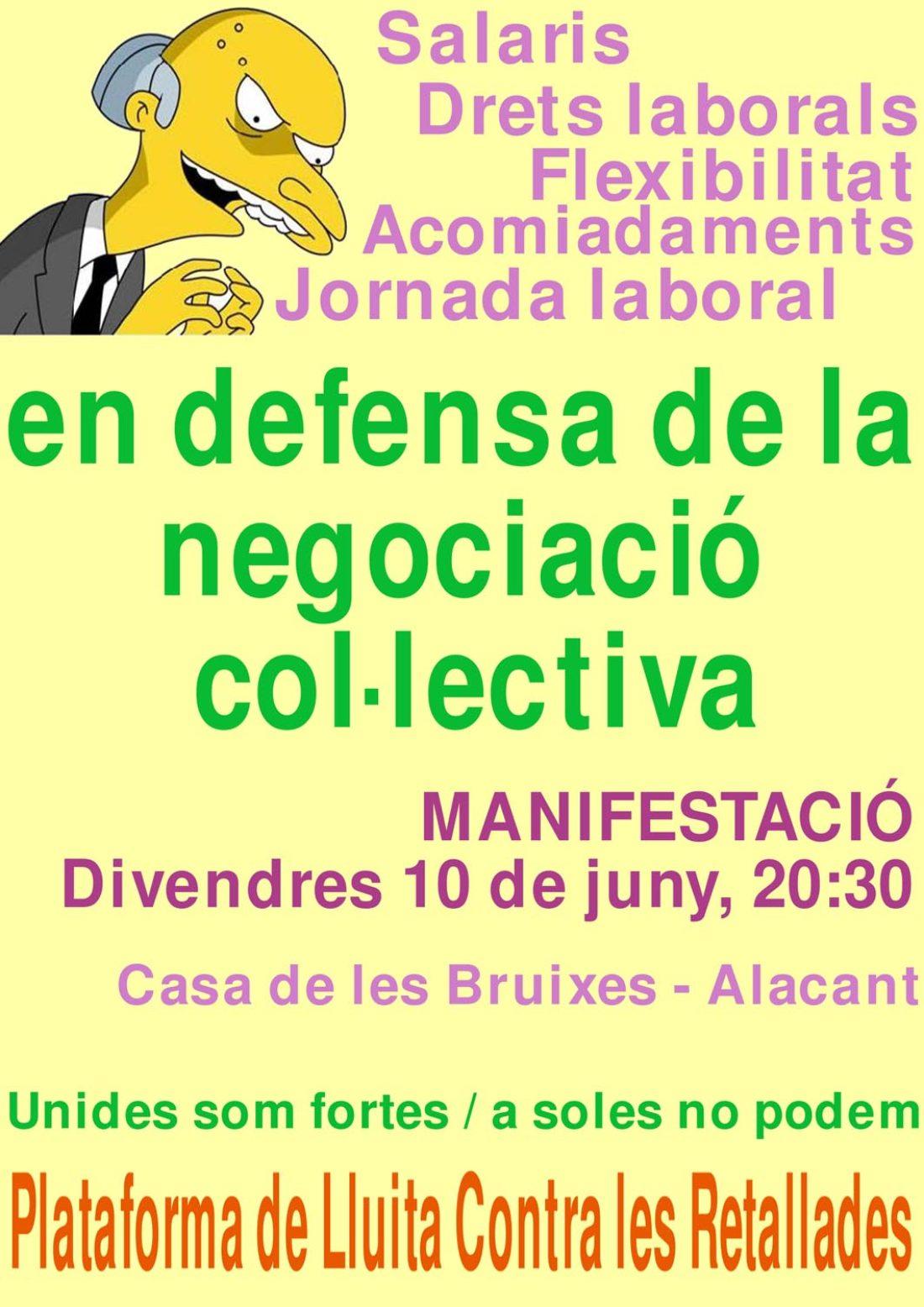 Alacant, 10 de Junio: Manifestación en defensa de la Negociación Colectiva
