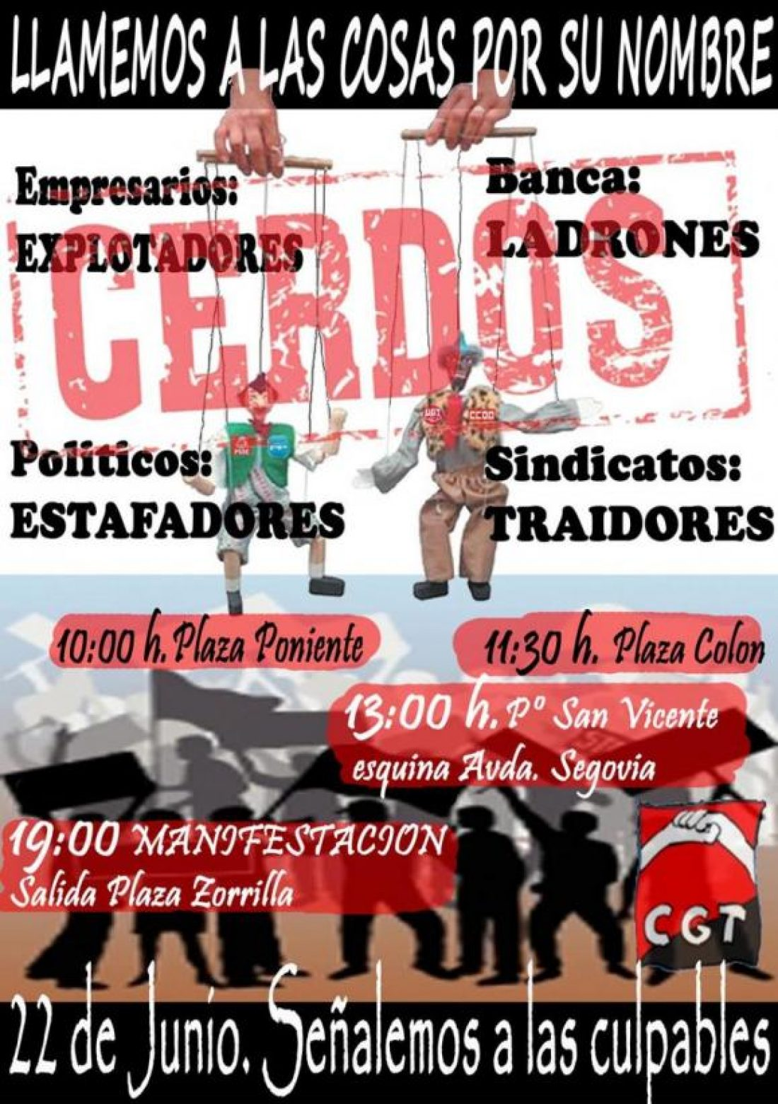 Valladolid, 22 de junio: Jornada de Lucha «Llamemos a las cosas por su nombre. Señalemos a los culpables»