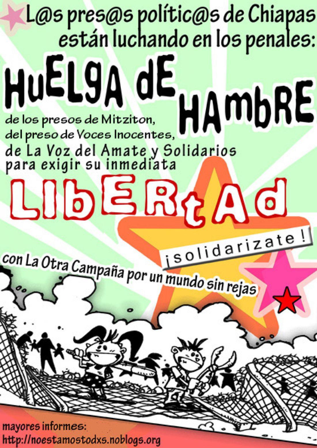 CGT organiza acciones locales en apoyo a la huelga de hambre de los presos polític@s de Chiapas