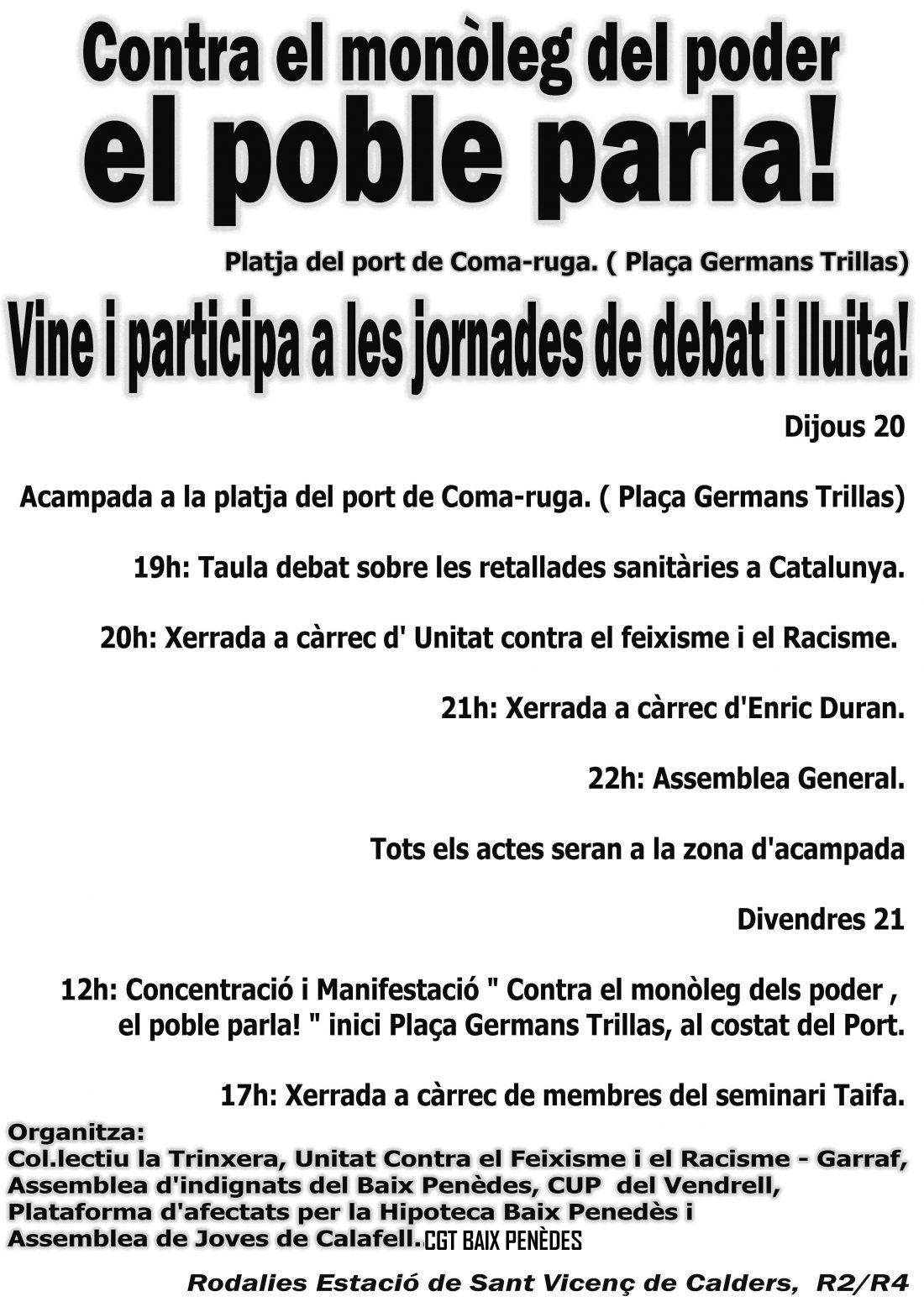 Actividades y movilizaciones el 20 y 21 de octubre contra la X Jornada Gresol en El Vendrell