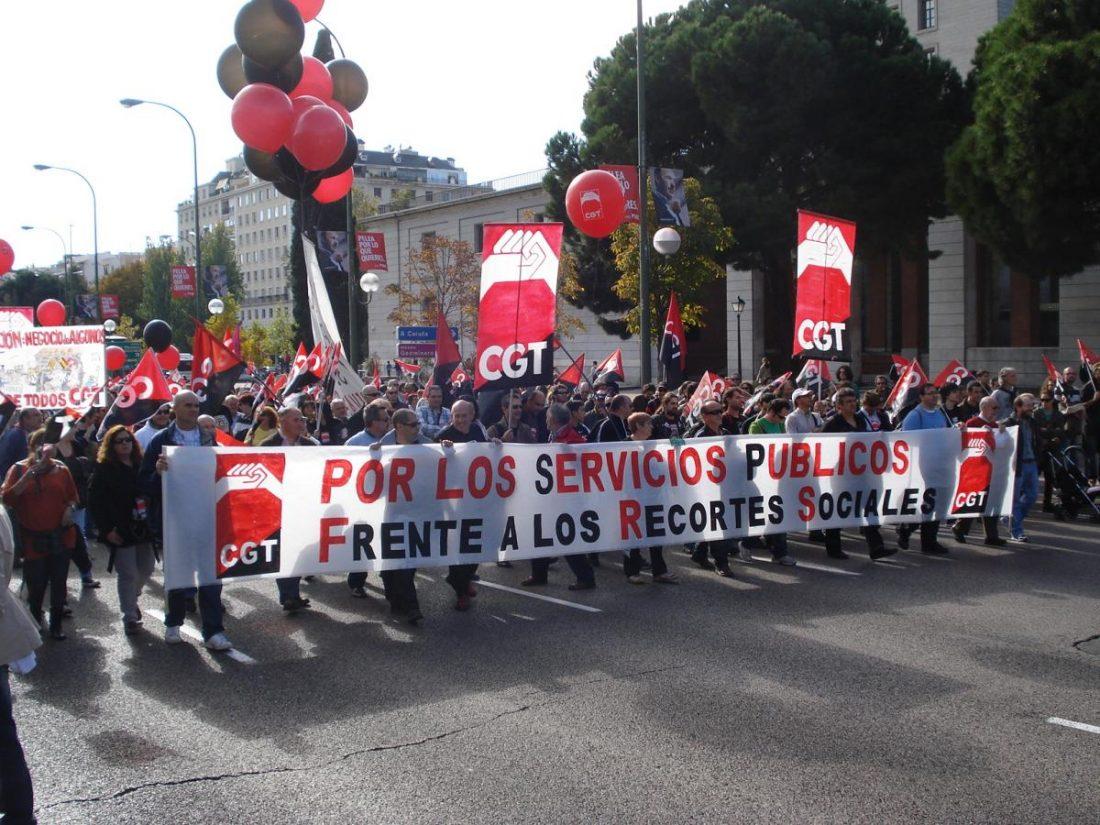 Miles de manifiestantes en Madrid con la CGT en defensa de los servicios públicos
