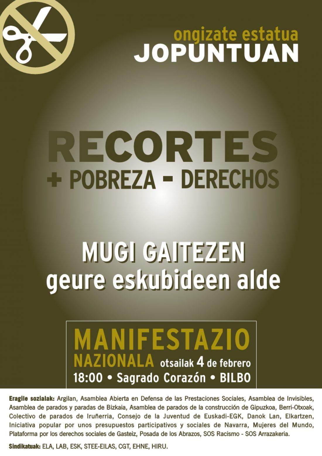 Bilbao, 4 de Febrero: CGT-LKN convoca manifestación unitaria contra los recortes