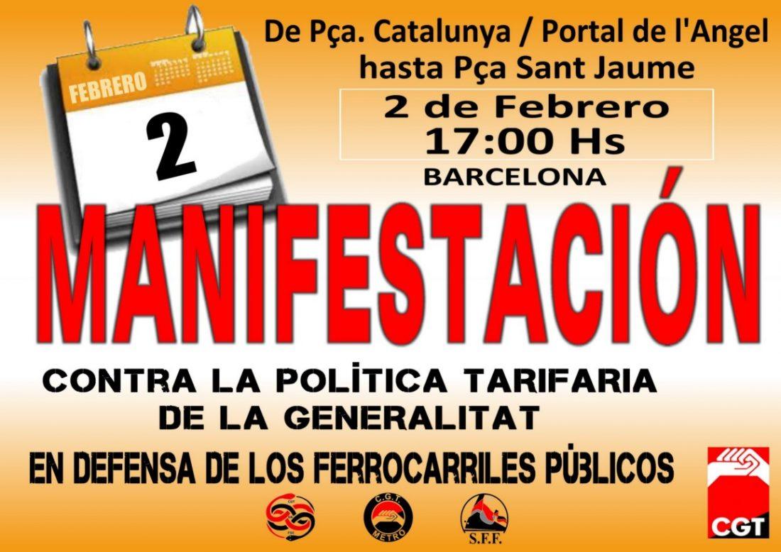 Barcelona, 2 de Febrero: Manifestación del sector de transporte por ferrocarril de CGT en Catalunya