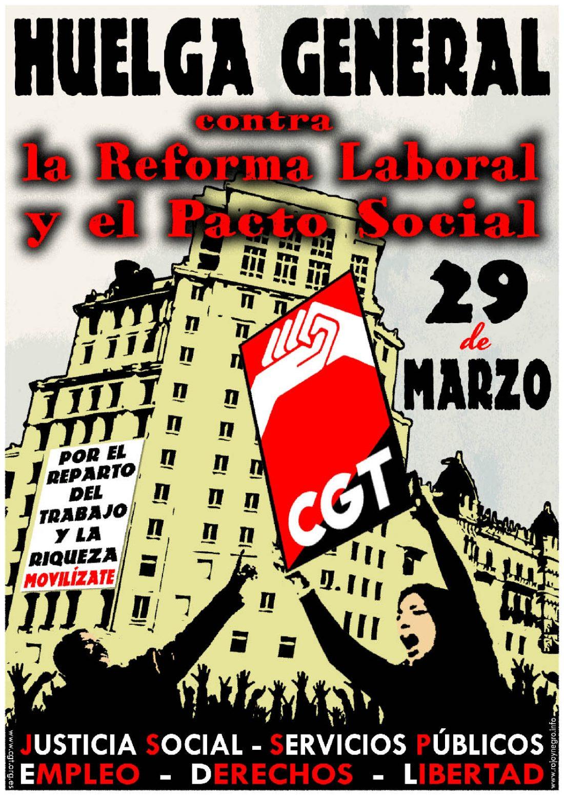 Recursos CGT para la Huelga General del 29 de Marzo: Cartelería, dípticos, pegatas…