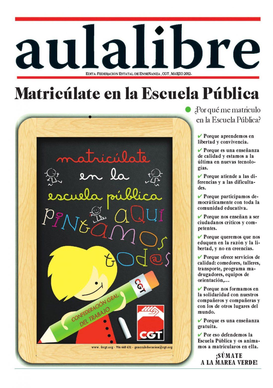 Aula Libre núm. especial – Marzo 2012