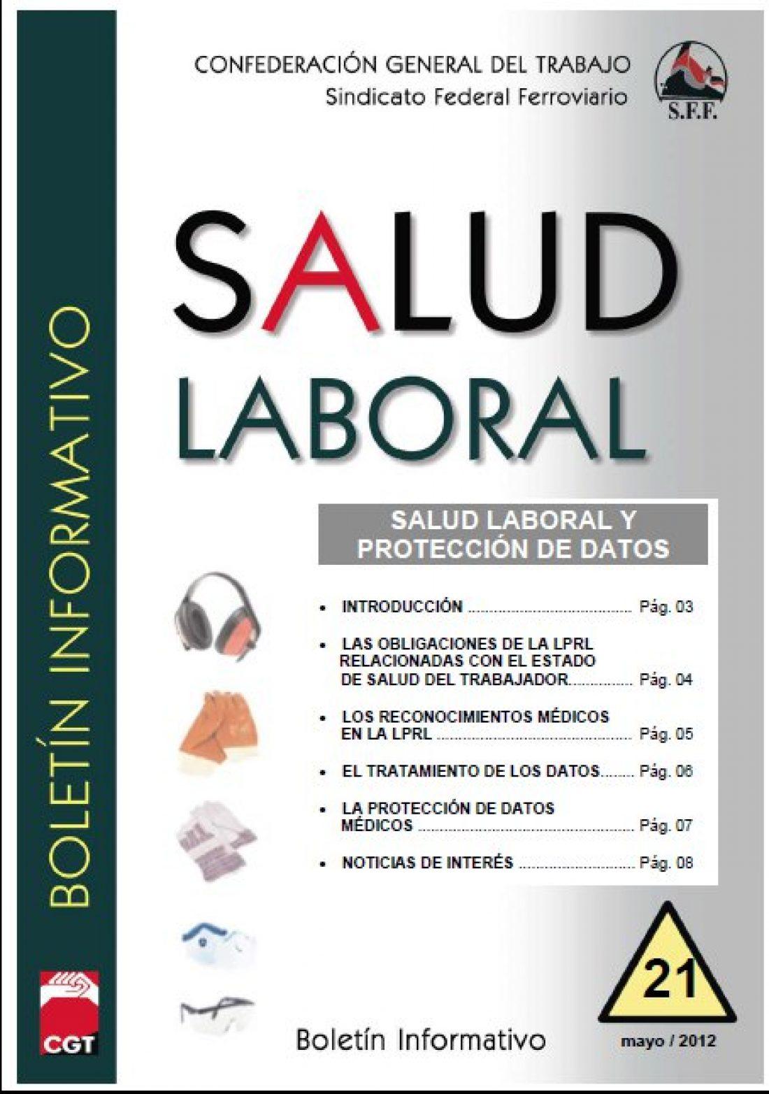 Sindicato Federal Ferroviario. Boletín de Salud Laboral nº 21