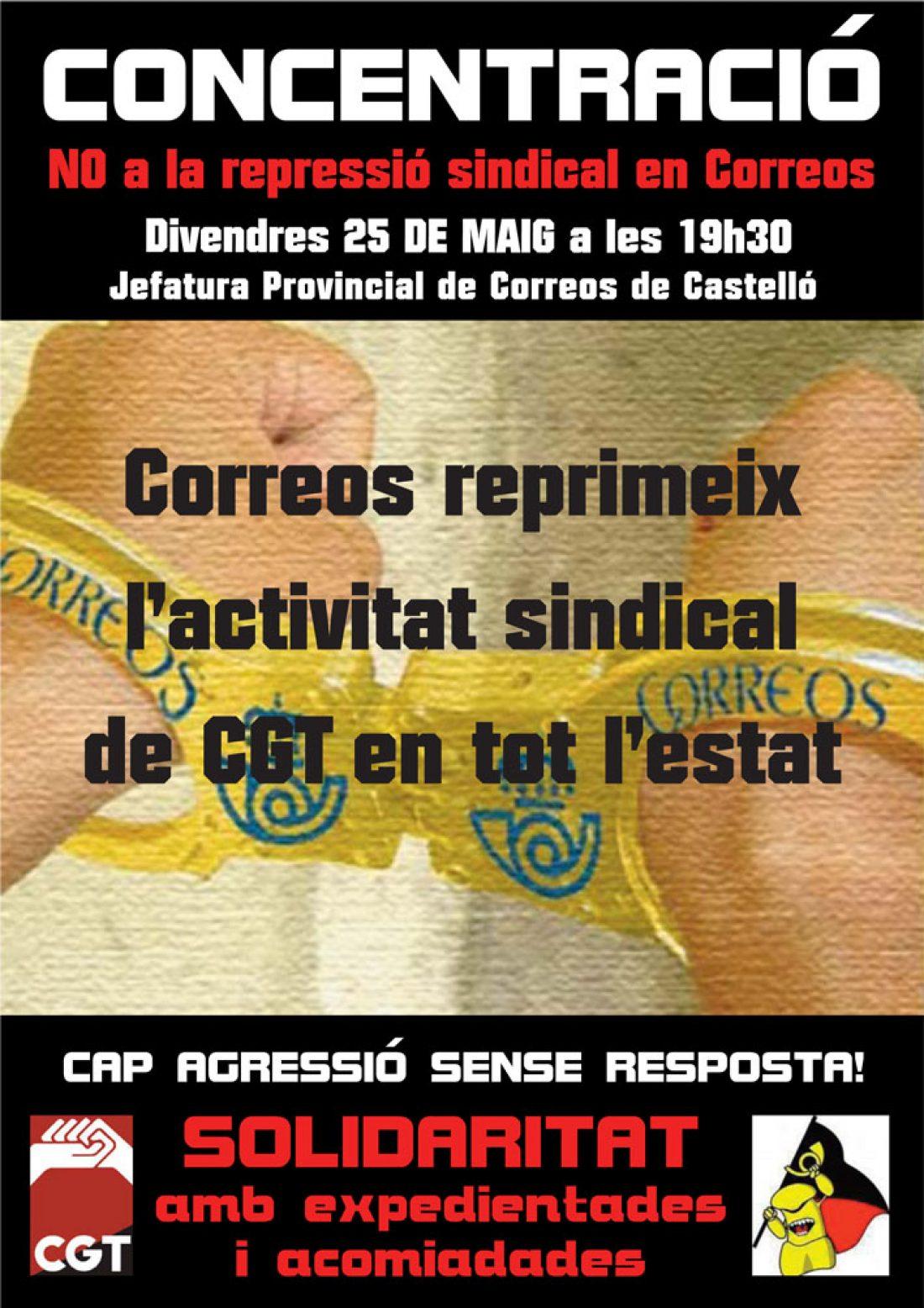25M Castellón: CGT protestará contra la represión en Correos