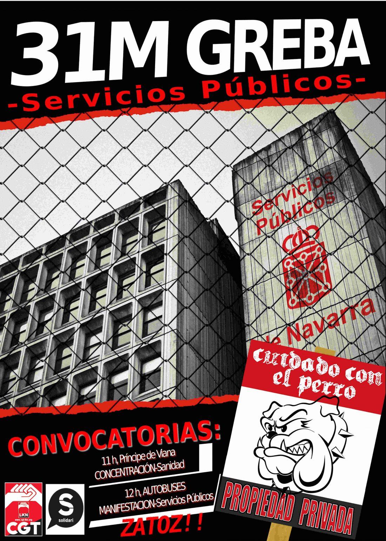 31 de mayo, Huelga en los servicios públicos en Navarra