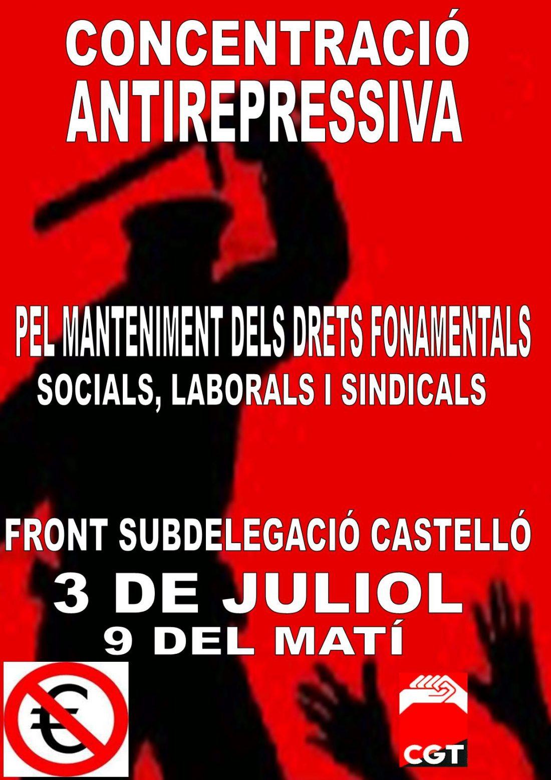 Castellón. 3 de julio Jornada Antirrepresiva
