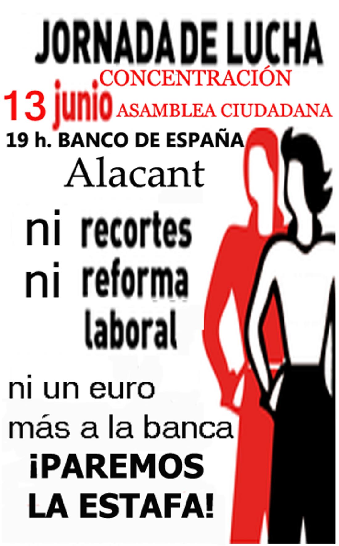 13-j Alacant: Jornada de lucha «Paremos la estafa de Bankia y Cia