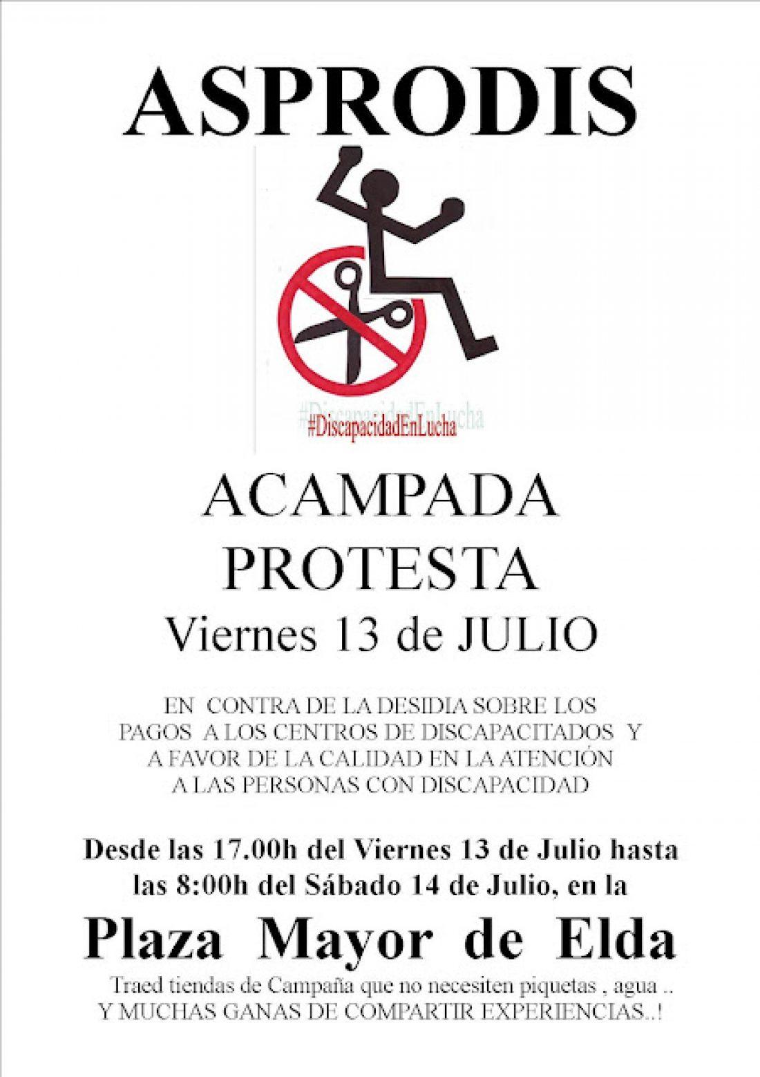 Acampada de protesta de Asprodis Elda el 13 de julio