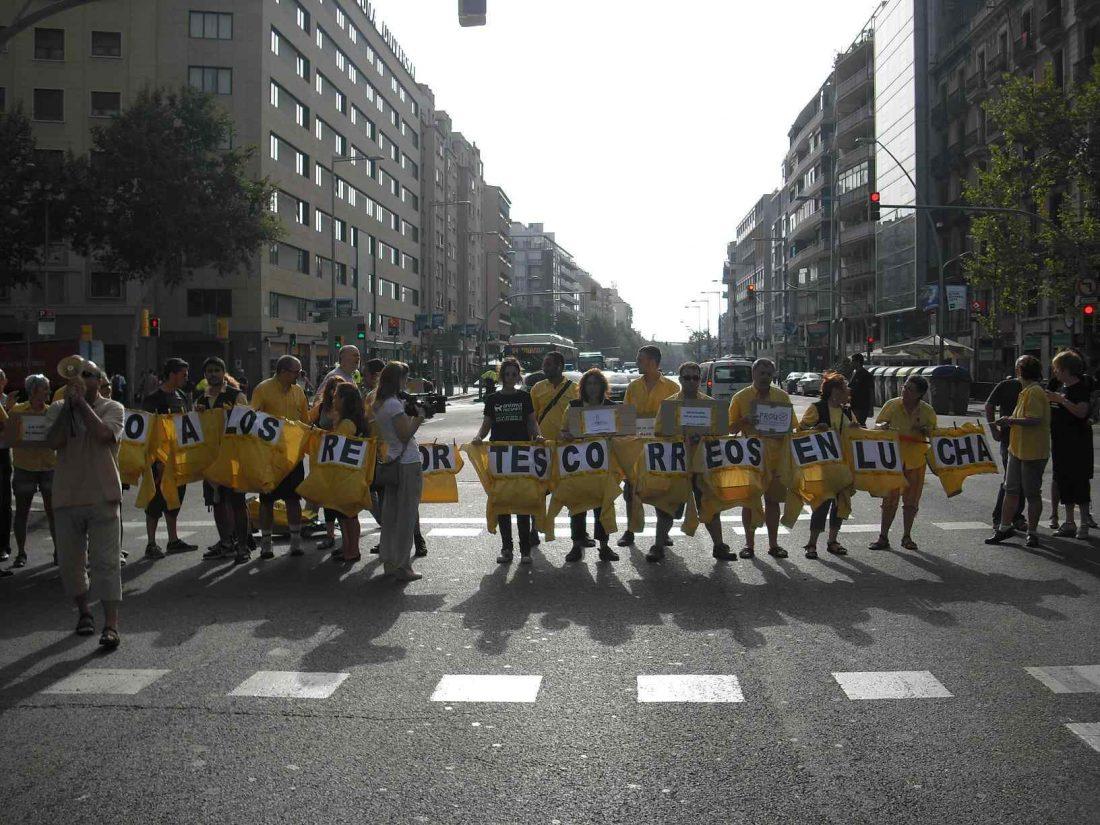 Crónica de los cortes de trafico de hoy en Barcelona y denuncia cómo el INSS oferta horas extras a la plantilla