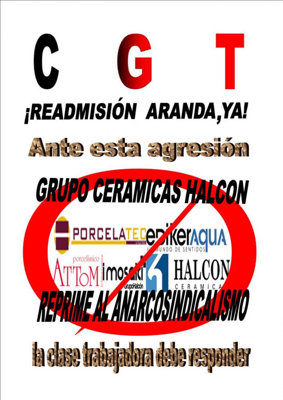 Por la readmisión del compañero Vicente Aranda, despedido por Cerámicas Halcón de Castellón