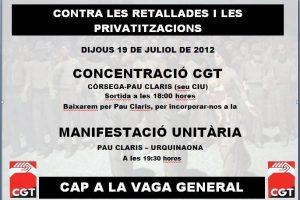Barcelona. La CGT convoca concentración y manifestación el 19 de julio contra los recortes a los empleados públicos