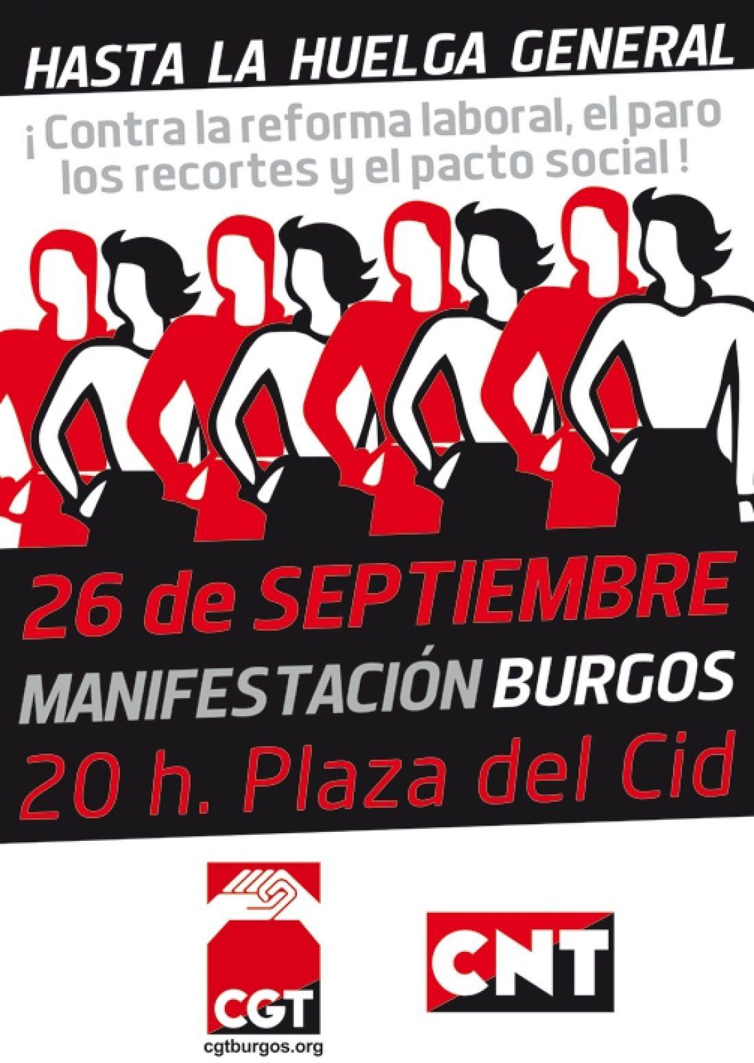Burgos. 26-S manifestación contra la Reforma Laboral, el paro, los recortes y el pacto social