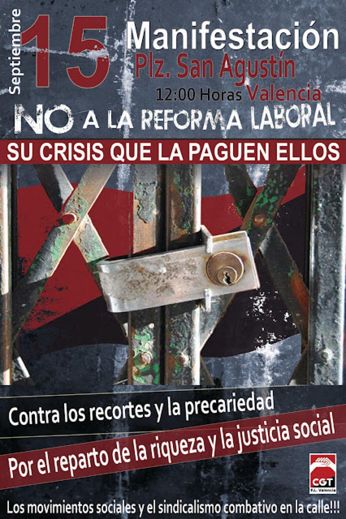15-S Valencia: CGT convoca manifestación contra los recortes y por una Huelga General