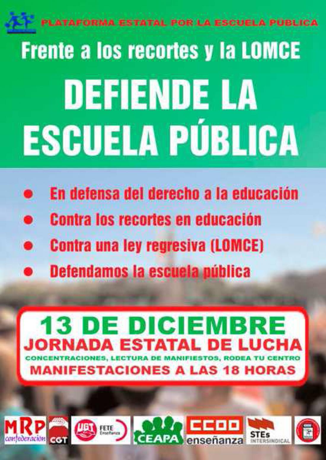 Jornada Estatal de Lucha en la Educación 13-D