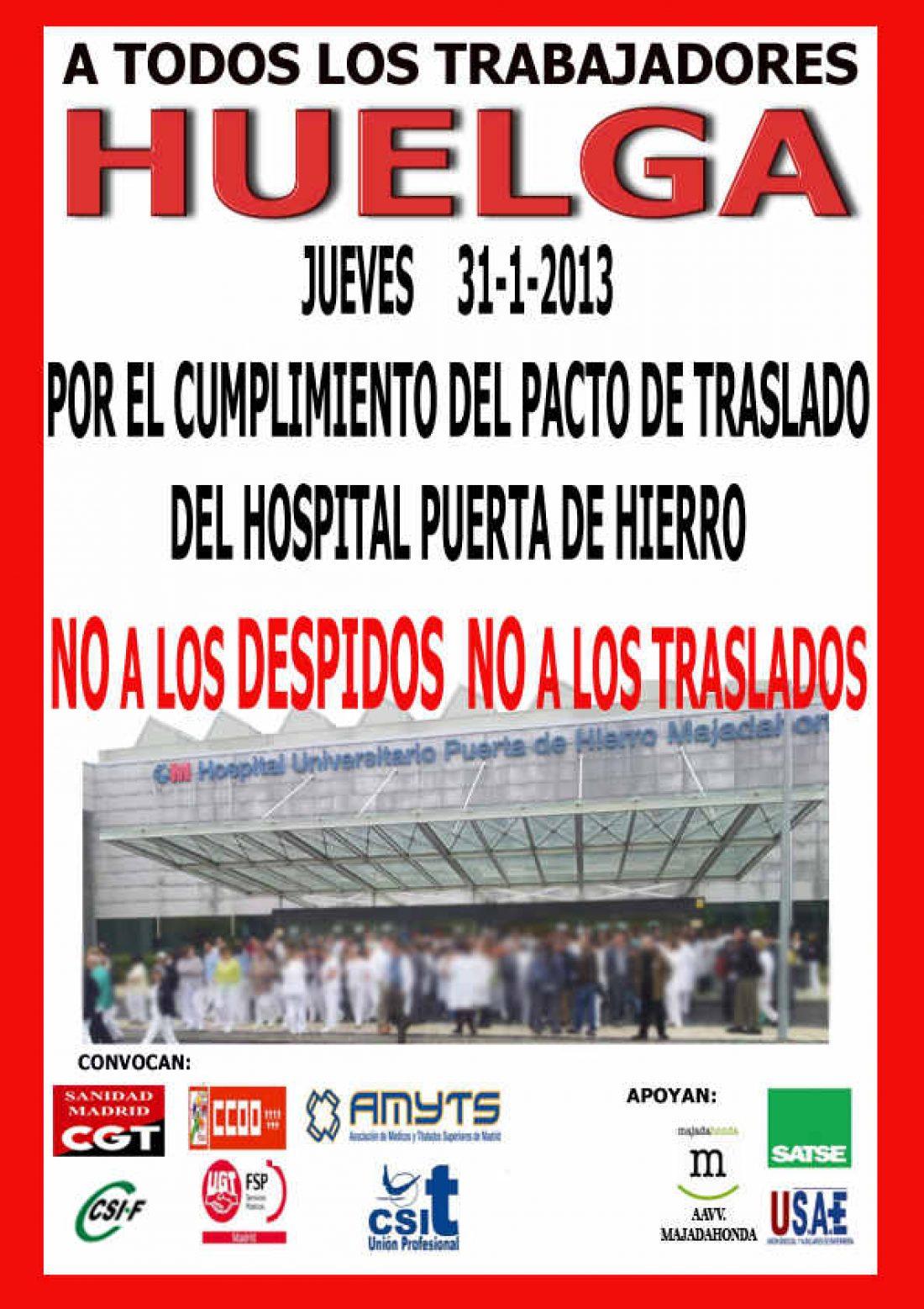 Madrid. 31 de enero Huelga en el Hospital Puerta de Hierro Majahonda