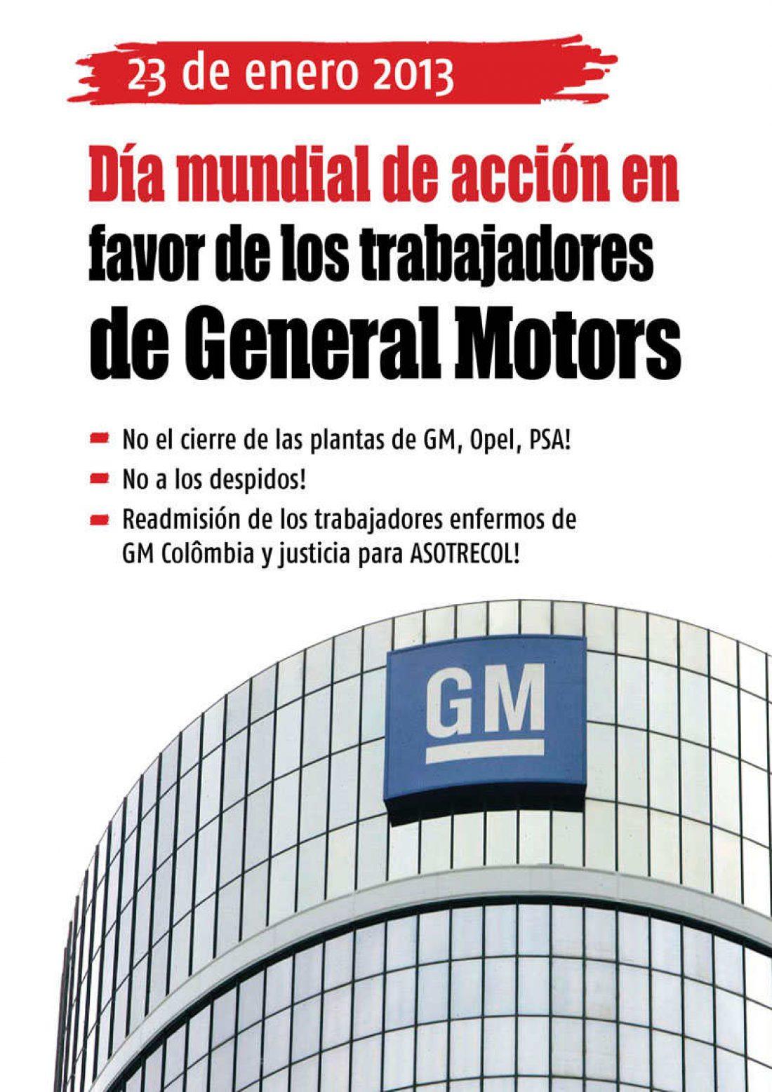 FESIM CGT. Solidaridad con lxs compañerxs de GM Colombia
