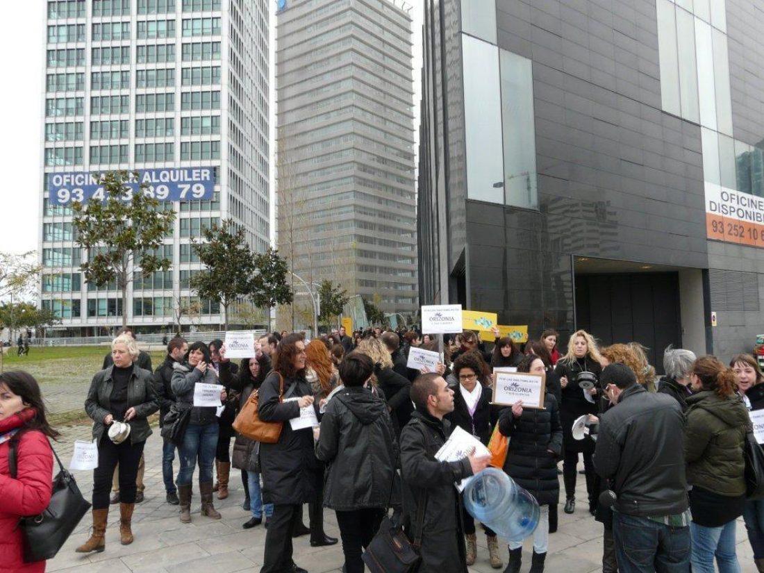 Corte de tráfico en Barcelona por lxs trabajadorxs de Orizonia