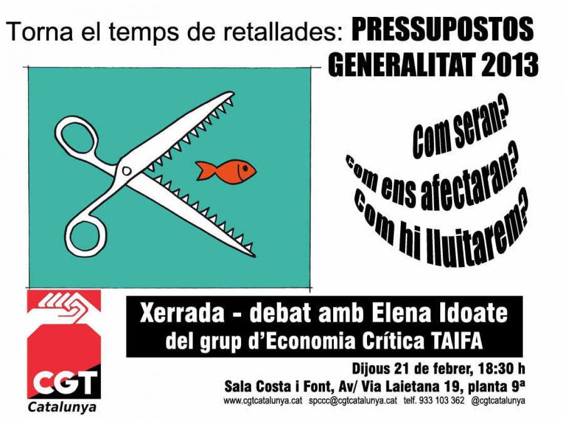 CGT Catalunya. Charla debate en Barcelona sobre los presupuestos de la Generalitat, martes 21 de febrero a las 19:30 h.