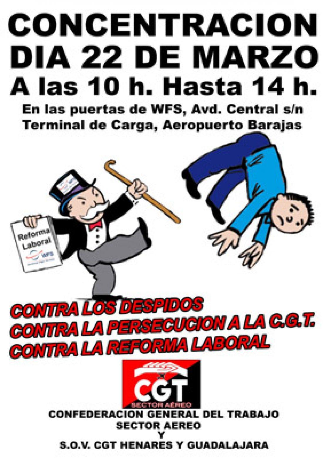 CGT Convoca concentración a las puertas de la empresa WFS en la Terminal de Carga del Aeropuerto de Barajas el 22 de marzo