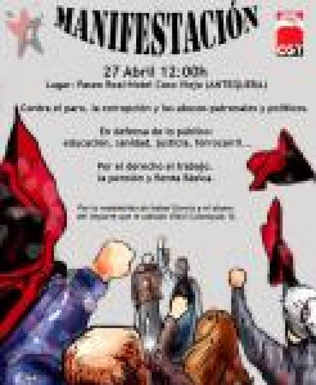 CGT llama a participar en la manifestación 27 abril en Antequera