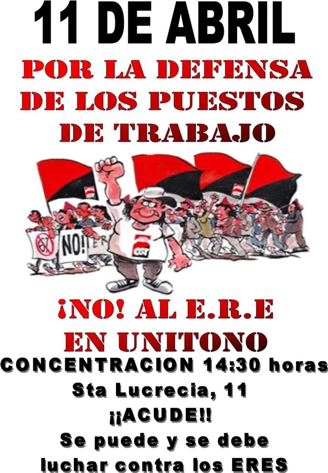 11 de abril: Concentraciones contra el ERE de Unítono
