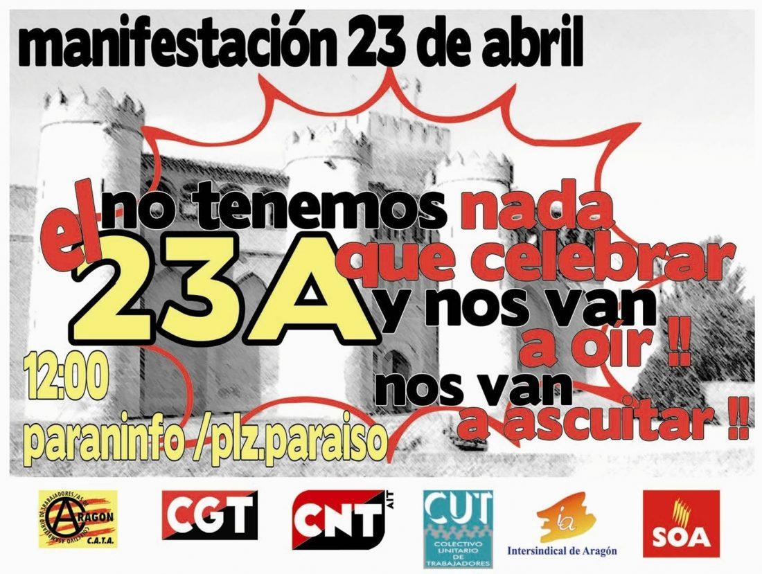 23-A: CGT Aragón y La Rioja convoca Manifestación y Cacerolada